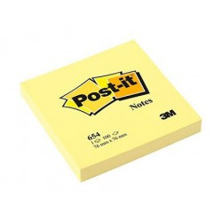 Bloc de notas adhesivas 3m post-it 654 76x76 mm. color canary yellow.