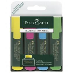 Marcador fluorescente faber-castell textliner 48 en colores surtidos, estuche de 4 uds.