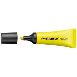 Marcador fluorescente stabilo neon amarillo.