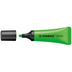 Marcador fluorescente stabilo neon verde.