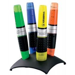 Marcador fluorescente stabilo luminator en colores surtidos, set de escritorio negro con 4 uds.
