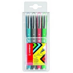 Roller tinta líquida stabilo worker colorful en colores surtidos, estuche de 4 uds.