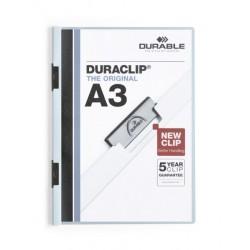 Dossier en pvc con clip duraclip durable en formato din a-3 para 30 hojas en color azul claro.
