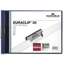 Dossier en pvc con clip duraclip durable en formato din a-4 apaisado para 30 hojas en color azul oscuro.