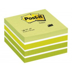 Cubo de 450 notas adhesivas 3m post-it 76x76 mm. color verde pastel.
