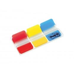 Marcapáginas post-it index rígidos en colores rojo, amarillo, azul de 25,4x43,1 mm.