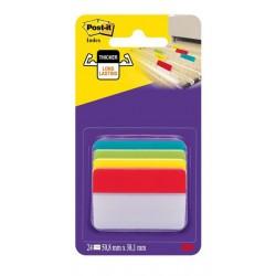 Marcapáginas post-it index rígidos inclinados para archivo en 4 colores surtidos de 50,8x38 mm.