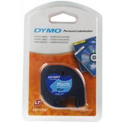 Cinta dymo letratag de 12 mm. x 4 mts. en plástico azul con escritura en color negro.