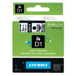 Cinta dymo d1 de 6 mm. x 7 mts. en poliéster transparente con escritura en color negro.