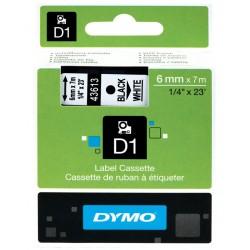 Cinta dymo d1 de 6 mm. x 7 mts. en poliéster blanco con escritura en color negro.