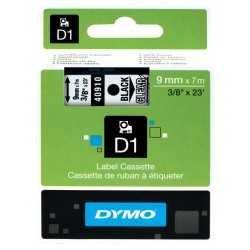 Cinta dymo d1 de 9 mm. x 7 mts. en poliéster transparente con escritura en color negro.