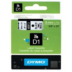 Cinta dymo d1 de 9 mm. x 7 mts. en poliéster blanco con escritura en color negro.