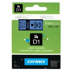 Cinta dymo d1 de 9 mm. x 7 mts. en poliéster azul con escritura en color negro.