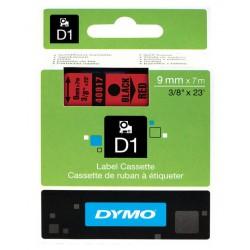 Cinta dymo d1 de 9 mm. x 7 mts. en poliéster rojo con escritura en color negro.