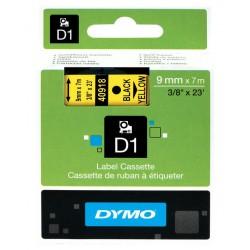 Cinta dymo d1 de 9 mm. x 7 mts. en poliéster amarillo con escritura en color negro.