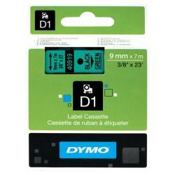 Cinta dymo d1 de 9 mm. x 7 mts. en poliéster verde con escritura en color negro.