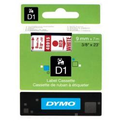 Cinta dymo d1 de 9 mm. x 7 mts. en poliéster blanco con escritura en color rojo.