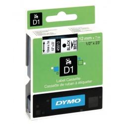 Cinta dymo d1 de 12 mm. x 7 mts. en poliéster blanco con escritura en color negro.