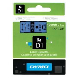 Cinta dymo d1 de 12 mm. x 7 mts. en poliéster azul con escritura en color negro.