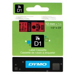 Cinta dymo d1 de 12 mm. x 7 mts. en poliéster rojo con escritura en color negro.