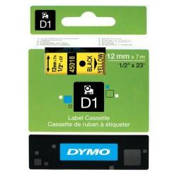Cinta dymo d1 de 12 mm. x 7 mts. en poliéster amarillo con escritura en color negro.
