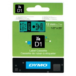 Cinta dymo d1 de 12 mm. x 7 mts. en poliéster verde con escritura en color negro.