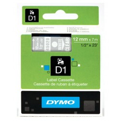 Cinta dymo d1 de 12 mm. x 7 mts. en poliéster transparente con escritura en color blanco.