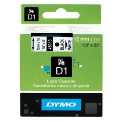 Cinta dymo d1 de 12 mm. x 7 mts. en poliéster negro con escritura en color blanco.