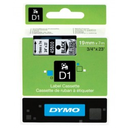 Cinta dymo d1 de 19 mm. x 7 mts. en poliéster transparente con escritura en color negro.