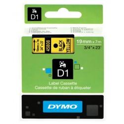 Cinta dymo d1 de 19 mm. x 7 mts. en poliéster amarillo con escritura en color negro.