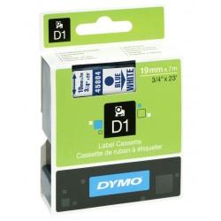 Cinta dymo d1 de 19 mm. x 7 mts. en poliéster blanco con escritura en color negro.