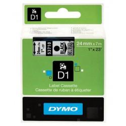 Cinta dymo d1 de 24 mm. x 7 mts. en poliéster transparente con escritura en color negro.