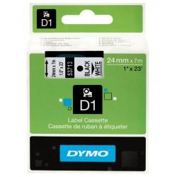 Cinta dymo d1 de 24 mm. x 7 mts. en poliéster blanco con escritura en color negro.