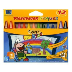 Lápiz de cera bic kids plastidecor peques en colores surtidos, estuche de 12 uds.