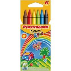 Lápiz de cera bic kids plastidecor en colores surtidos, estuche de 6 uds.