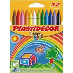 Lápiz de cera bic kids plastidecor en colores surtidos, estuche de 12 uds.