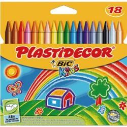 Lápiz de cera bic kids plastidecor en colores surtidos, estuche de 18 uds.