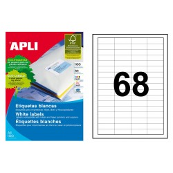 Etiqueta blanca cantos rectos apli de 48,5x16,9 mm. caja de 100 hojas din a-4.
