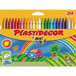 Lápiz de cera bic kids plastidecor en colores surtidos, estuche de 24 uds.