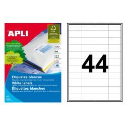 Etiqueta blanca cantos rectos apli de 48,5x25,4 mm. caja de 100 hojas din a-4.