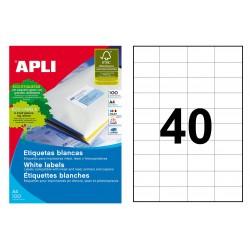 Etiqueta blanca cantos rectos apli de 52,5x29,7 mm. caja de 100 hojas din a-4.