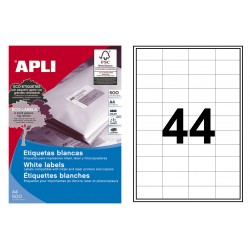 Etiqueta blanca cantos rectos apli de 48,5x25,4 mm. caja de 500 hojas din a-4.