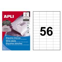 Etiqueta blanca cantos rectos apli de 52,5x21,2 mm. caja de 500 hojas din a4