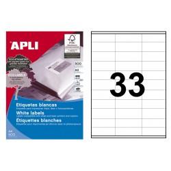 Etiqueta blanca cantos rectos apli de 70x25,4 mm. caja de 500 hojas din a-4.