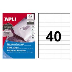 Etiqueta blanca cantos rectos apli de 52,5x29,7 mm. caja de 500 hojas din a-4.