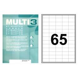 Etiqueta blanca cantos rectos multi 3 de 38x21,2 mm. caja de 500 hojas din a-4.