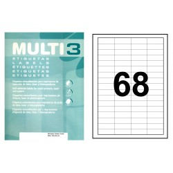 Etiqueta blanca cantos rectos multi 3 de 48,5x16,9 mm. caja de 500 hojas din a-4.