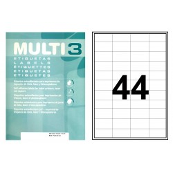 Etiqueta blanca cantos rectos multi 3 de 48,5x25,4 mm. caja de 500 hojas din a4