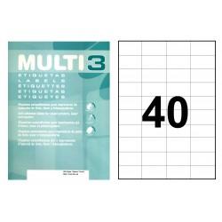 Etiqueta blanca cantos rectos multi 3 de 52,5x29,7 mm. caja de 500 hojas din a-4.
