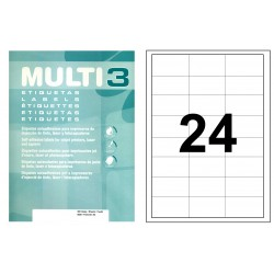 Etiqueta blanca cantos rectos multi 3 de 64,6x33,8 mm. caja de 500 hojas din a4